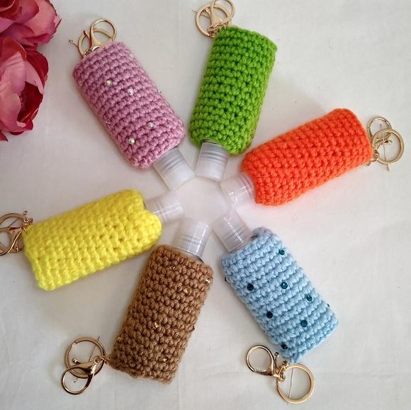 Crochet handsanitizer holder. body lotion keychain